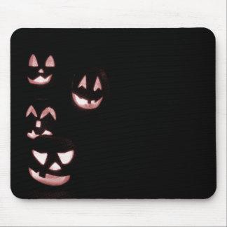 4 Lit Jack-O-Lanterns - Red Mousepads
