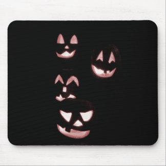 4 Lit Jack-O-Lanterns - Red Mouse Pads