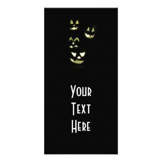 4 Lit Jack-O-Lanterns - Yellow Picture Card