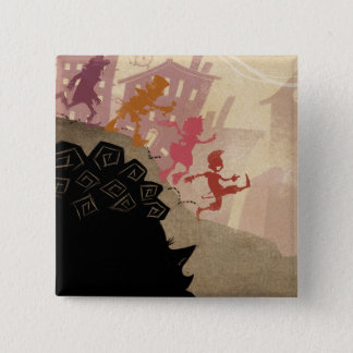 4 Little Monsters - Walking Through Town 15 Cm Square Badge