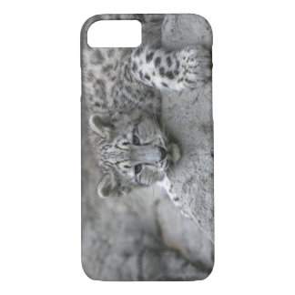 4 month old Snow leopard cub draped over a rock iPhone 8/7 Case