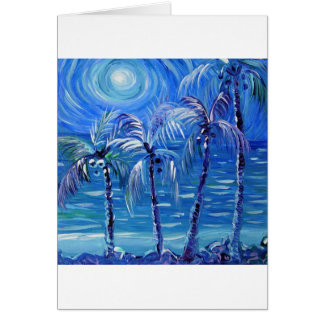 4 moon lit palms greeting card