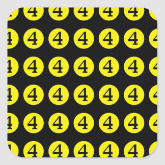 4 # Number Four Square Sticker