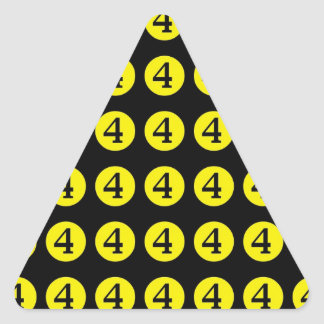 4 # Number Four Triangle Sticker