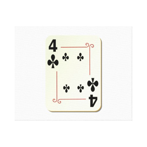 4 of Clubs Playing Card Gallery Wrapped Canvas