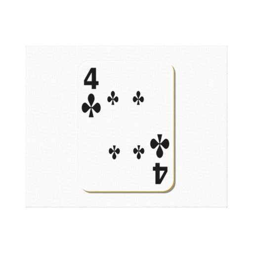 4 of Clubs Playing Card Stretched Canvas Print