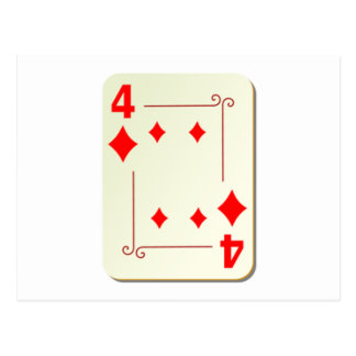 4 of Diamonds Playing Card Postcard