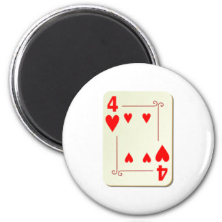 4 of Hearts Playing Card Magnet