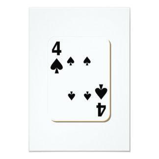 4 of Spades Playing Card 9 Cm X 13 Cm Invitation Card