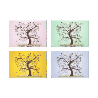 4-Panel 4-Seasons Trees Gallery Wrap Canvas