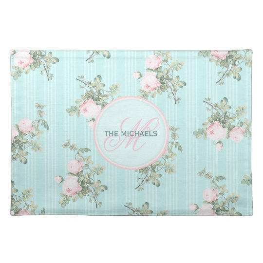 4 personalised place mats shabby chic monogram