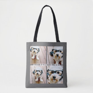 4 Photo Collage - Choose YOUR BACKGROUND COLOR Tote Bag