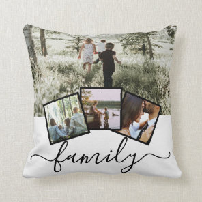 4 Photo Collage Family Personalised Cushion