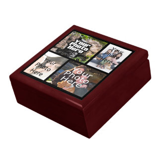 4 Photo Collage Keepsake Wood Jewelry/Valet Box