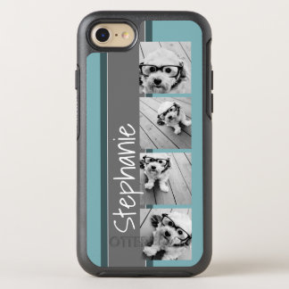 4 Photo Collage with Custom Name Blue Gray OtterBox Symmetry iPhone 8/7 Case