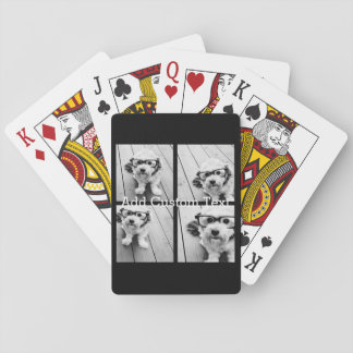 4 Photo Collage - you can change background color Playing Cards