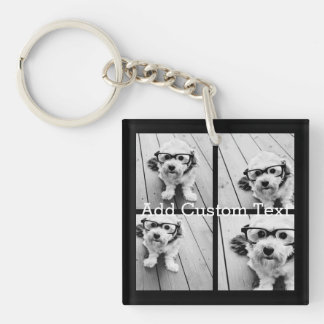 4 Photo Collage - you can change background color Single-Sided Square Acrylic Key Ring