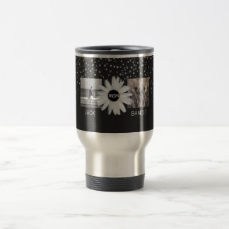 4 Photo Family Collage | Cute Daisy Flower for Mom Travel Mug