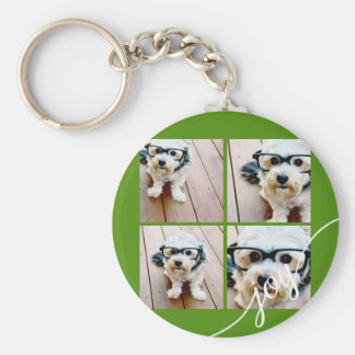 4 Photo Instagram Collage with Holiday Joy Green Key Ring