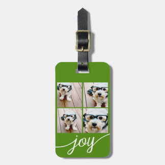 4 Photo Instagram Collage with Holiday Joy Green Luggage Tag
