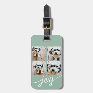 4 Photo Instagram Collage with Holiday Joy Mint Luggage Tag
