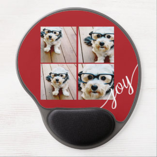 4 Photo Instagram Collage with Holiday Joy Red Gel Mouse Mat