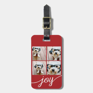 4 Photo Instagram Collage with Holiday Joy Red Luggage Tag