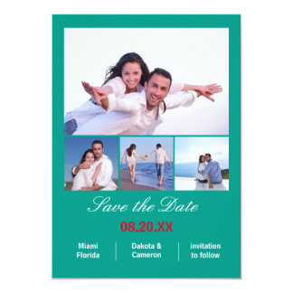 4 Photos Collage Vertical - Aqua Save the Date Card