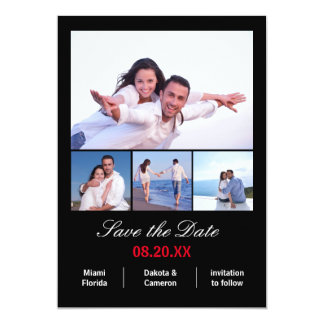 4 Photos Collage Vertical - Black Save the Date Card