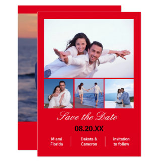 4 Photos Collage Vertical - Red Save the Date Card