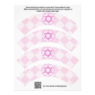 4 Pink Girl Bat Mitzvah Custom Cupcake Wrappers 21.5 Cm X 28 Cm Flyer