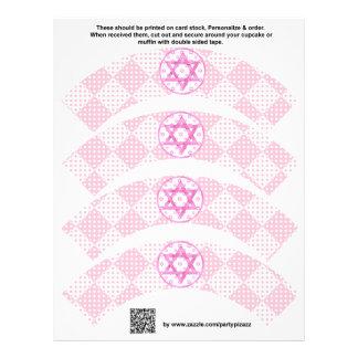 4 Pink Girl Bat Mitzvah Custom Cupcake Wrappers 21.5 Cm X 28 Cm Flyer