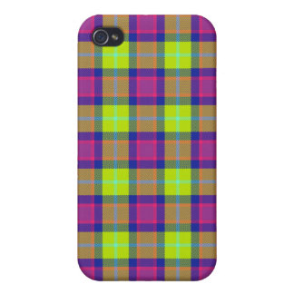 4 * - Plaid Purple / Blue / Lime Covers For iPhone 4