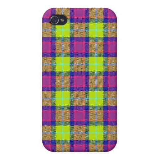 4 * - Plaid Purple / Blue / Lime iPhone 4/4S Cases
