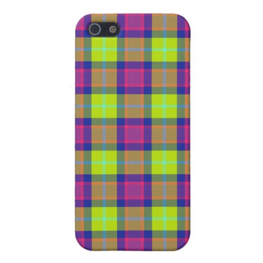 4 * - Plaid Purple / Blue / Lime Covers For iPhone 5