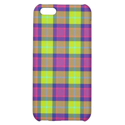 4 * - Plaid Purple / Blue / Lime Case For iPhone 5C