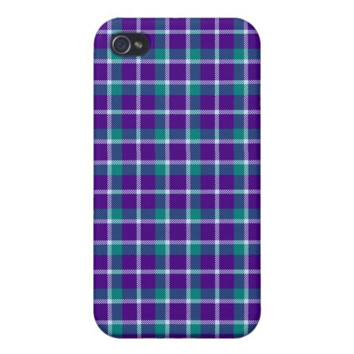 4 * - Plaid Purple / Teal iPhone 4/4S Cover