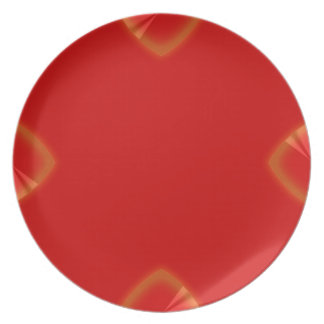 4 Point Red Chrome Wedge Party Plates