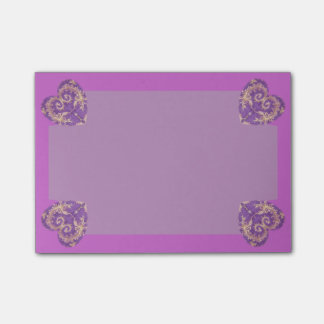 4 Purple N Gold Brocade Hearts Pot It Notes Post-it® Notes