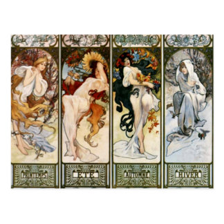 4 seasons A. Mucha Postcard