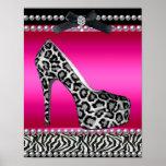 4 Stephanie Banner Hot Pink Zebra Leopard Poster