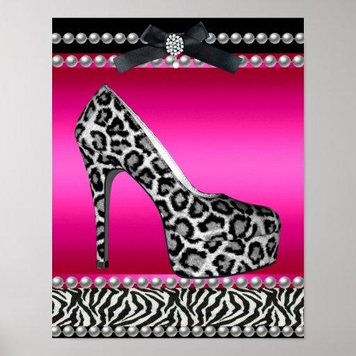 4 Stephanie Banner Hot Pink Zebra Leopard Print