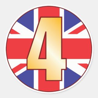 4 UK Gold Round Sticker