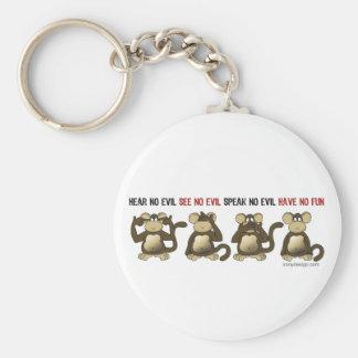 4 Wise Monkeys Basic Round Button Key Ring
