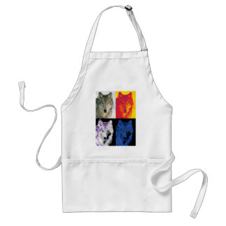 4 Wolf Faces Standard Apron