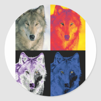 4 Wolf Faces Classic Round Sticker