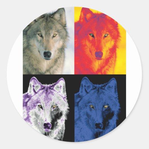 4 Wolf Faces Sticker