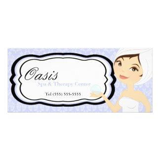 "4""x9"" Gift Certificate Blue Damask Spa Massage Customised Rack Card"