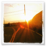 """4"""" x 4"""" Instagram Print: Sunset On a Road Photograph"""