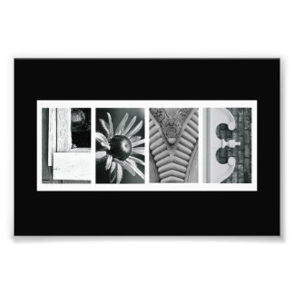 4 x 6 Love (Black) Alphabet Photo Letter Art